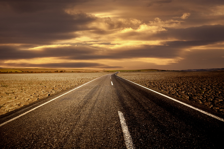 Road To Nowhere - highway, photography, peaceful, deserts, desert road, landscape, autumn, sunrise, sunset, road, sky, lost, travel, nature, desert, trees, beauty, beautiful, dusk, clouds, field, lonely