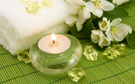 spa - candle, towel, jasmine, green, feng shui, spa, flower, calming, peacefull, relaxing