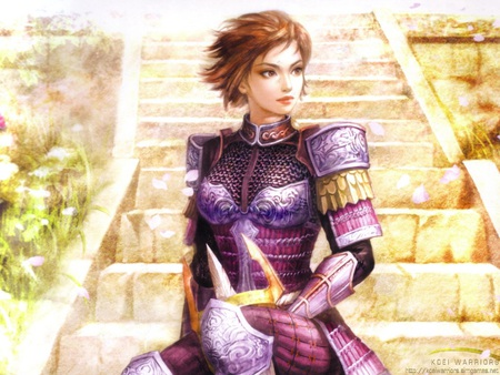 Ginchiyo Tachibana - beautifull, fighter, tachibana, sexy, cute, warrior, girl, samurai, purple, ginchiyo, anime, beauty