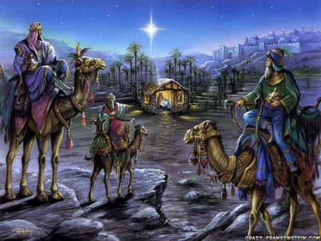 Follow The Star - jesus birth, travelers, christmas, three wisemen, stable, camels, manger, gifts