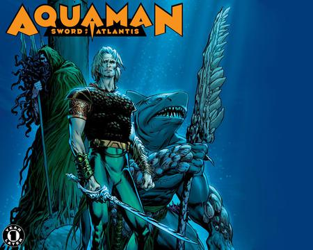Aquaman - hero, shark, comic, aquaman, water
