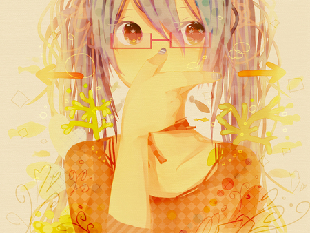 Miku Mix - vocaloid, hatsune miku, glasses, looking away, twintails, collage, arrows, anime, hand