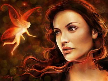 ... colors, long hair, women, red hair, 3d, yellow, beautiful, fantasy