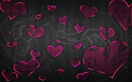 Black And Pink Heart Wallpaper