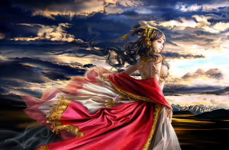 Dawn - cg, strong, white, pink, other, cute, brown, orange, colours, chinese art, woman, female, body, quenn, sky, silk, women, clouds, art, black, people, figure, abstract, gold, red, metal, sunset, armor, blue, colors, gorgeous, long hair, 3d, yellow, veils, beautiful, dawn, purple, fantasy, pretty, fine art, gown
