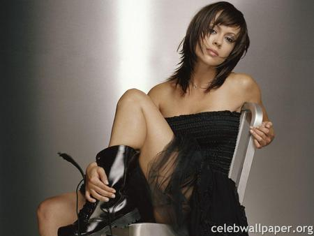 Alyssa Milano - female, actress, black dress, booth, sexy
