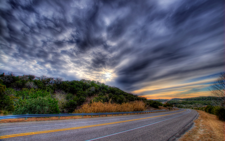 Road To... - colorful, hills, sunset, grass, road, sky, colors, trees, nature, beauty, beautiful, clouds, green, landscape