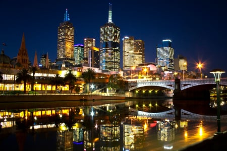 City Lights - lanterns, colorful, peaceful, skyscrapers, lights, night, road, sky, colors, bridge, melbourne, trees, skyline, architecture, houses, reflection, beauty, beautiful, river, city, buildings, house, view