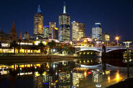 City Lights - beauty, colorful, night, lights, lanterns, buildings, melbourne, beautiful, road, trees, skyscrapers, bridge, peaceful, city, house, river, view, houses, colors, skyline, sky, architecture, reflection