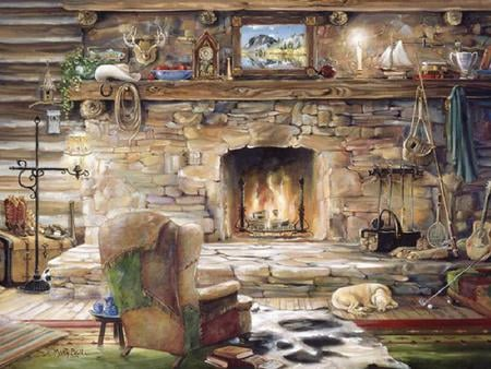 At The Ranch - ornaments, plant, golf ball, mantle, fireplace, stone, rugs, comforts of home, chair, dog, cowboy boots, lamp, piture, golf club, fire, platform, trunk