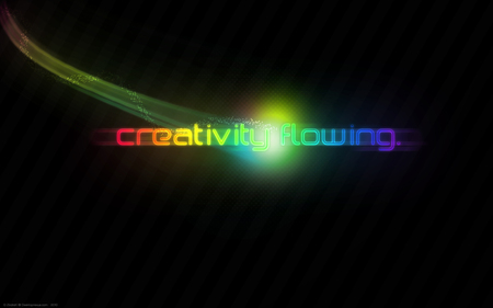 Creativity Flowing - red, orange, blast, background, yellow, rainbow, halftones, green, beam, ray, light, blue, text, bars, creativity, blur, colors, black, energy, purple, flowing, dark
