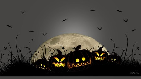 Smiling Jacks - holiday, night, pumpkins, scary, moon, jack o lanterns, bats, firefox persona, halloween