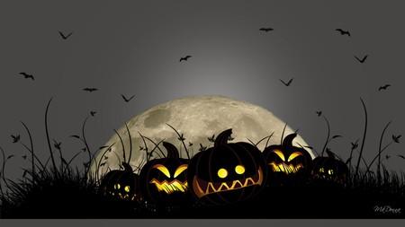 Smiling Jacks - firefox persona, halloween, scary, pumpkins, holiday, jack o lanterns, moon, bats, night
