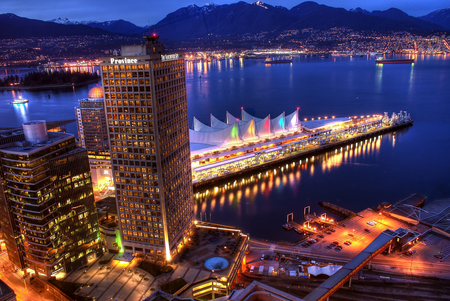 Vancouver 7 Sails - view, ocean, vancouver, sails, city, water, highrise, blue, night