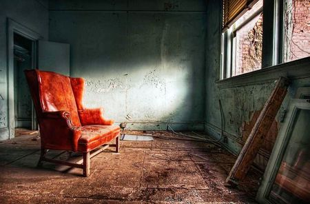 Red Chair - room, photography, wall, window, old, abstract, chair, red