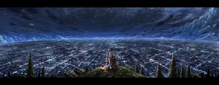 Stargazing - hill, braids, sky, forest, scenery, stars, clouds, city, lamp