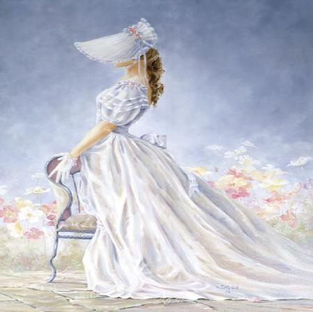 Southern Belle - dress, posing, silk, bonnet, chair, painting