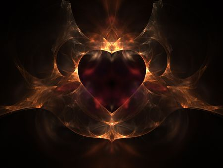 Flaming Heart - abstract, valentines day, heart, 3d, love