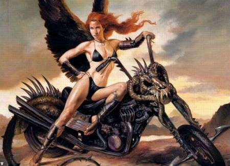 Biker Angel - wings, bikini, angel, bike, fairy, tail, female, ride, lady, julie bell, kool, winged, skull, vallejo, motorcycle, chopper, biker, fantasy, boris vallejo