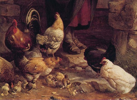 Chickens Feeding - Hans Thoma - religiously, foretime, easter, jesus, hans thoma, holly day, alive, tradition, holiday, traditional, religion, thoma, masterpieces, past, generations, happy easter, history