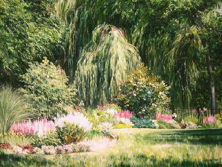 Weeping Willow - fence, grass, sunlight, weeping willow, painting, flowers, trees