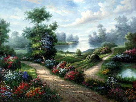 Walk Through Beauty - grass, trees, sky, clouds, lake, dirt path, water, painting, flowers, stump