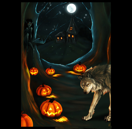 Halloween wolf - wolf, halloween, scary, moon, witches, dark, night, pumpkins
