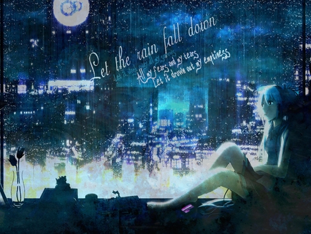 Wash Away - vocaloid, fall, raindrops, miku, rainfall, sky, away, hatsune, wash, rain, blue