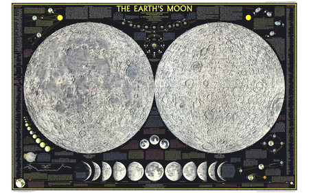 Map of MOON - moon, full, crescent, earth, map