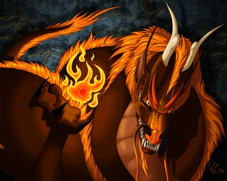 flame dragon - fire, 3d, draon, flame