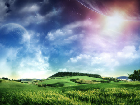Planets in the sky - sun, grass, nature, sky, blue
