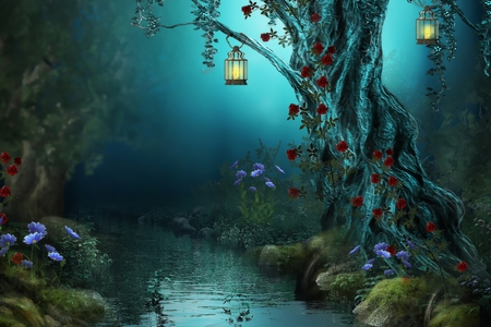 Fantasy - lanterns, grass, peaceful, roses, abstract, tree, lantern, red, flower, story, forest, rose, lights, red roses, night, lamp, rocks, flowers, colors, water, nature, trees, woods, forests, beauty, basm, beautiful, lovely, fantasy, river, lamps, garden