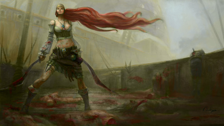warrior - redhead, girl, warrior, combact
