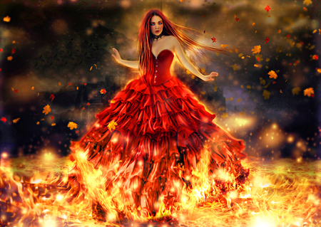 A dangerous mind - flames, fantasy, red, girl