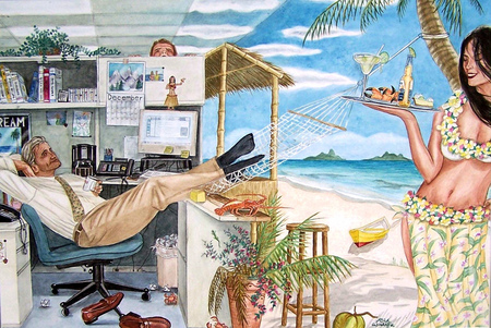 Working holiday - beach, girl, painting, tropical, working