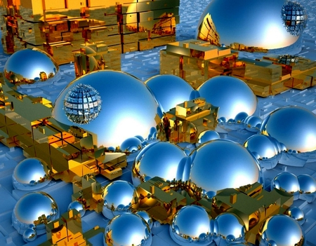 City of Tomorrow - architecture, forthcoming, christmas ornaments, background, geometric, circles, squares, nice, lightness, gold, hereafter, wallpaper, bright, morning, tomorrow, prospective, business, sunrises, art, brightness, houses, golden, collage, spheres, cool, balls, futurity, digital, awesome, plate, great, photoshop, fullscreen, figures, unborn, geometric figures, rectangles, blocks, beautiful, after-days, silver, photography, city, future, effects, mirror, light, other, photo, globe, amazing, customized, citie, day, desktop, reflected, reflections, coming