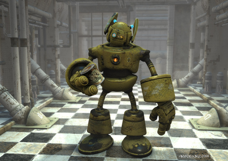 A last drink for the road - scifi, robot, cartoon, 3d