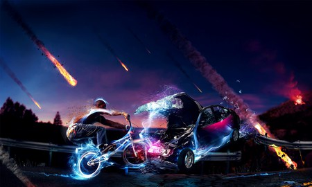 Awesome Bmx Car CG - hd, cg, space, comet, abstract, bmx, sexy, crash, cool, car, resolution, awesome, hot, bike, hi res