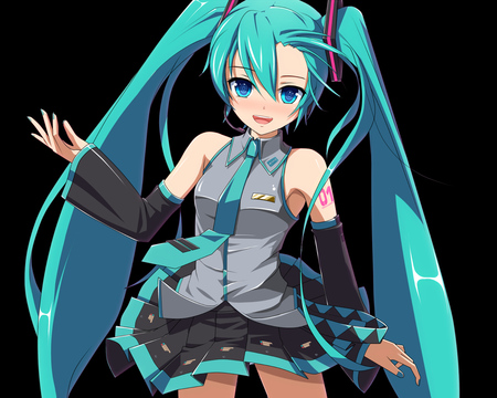 Hatsune Miku - pretty, hatsune miku, headphones, tie, beautiful, thighhighs, nice, anime, hot, beauty, vocaloids, blue eyes, blue, vocaloid, twintail, music, skirt, miku, black, sexy, headset, cute, hatsune, microphone, cool, blue hair, awesome, idol
