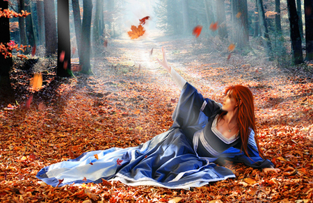 Autumn fire - autumn, fantasy, woman, leaves