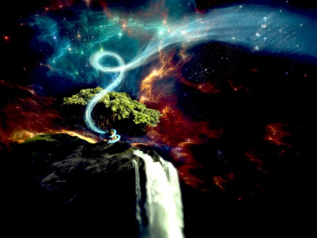 Cosmic tree - cg, fantasy, cosmic, tree