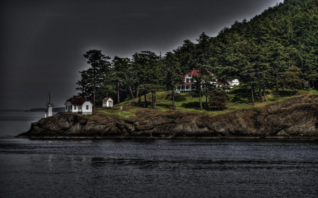 The Perfect Storm - cruise, house, cottage, lighthouse, point, lookout, dlbdata, water, mansion