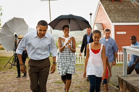 The First Family in the rain. - barack obama, the president, obama, first family