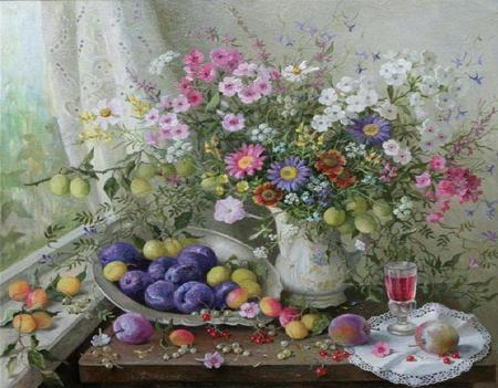 Beauty for all to Enjoy - table, doily, window, fruits, pitcher, curtain, glass, painting, flowers, silver platter