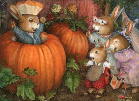 Getting Ready for Halloween - trick or treat, halloween, painting, rabbits, fun, pumpkins