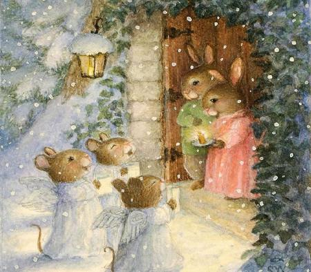 Little Mice Carolers - candle, lantern, music, mice, carolers, snow, painting, voices, bunnies