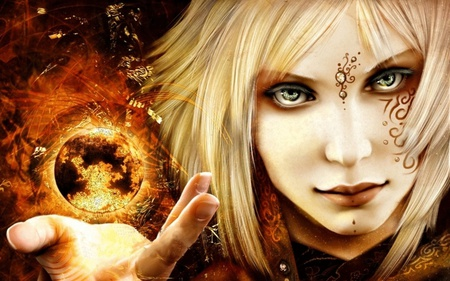 fantasy - world, hair, fire, fantasy, anime, color, face, eyes, other