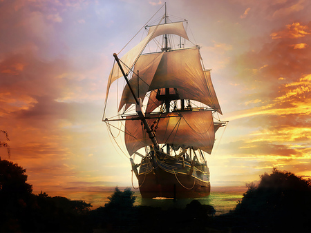Old Spanish Galleon - galleon, ship, boat, war