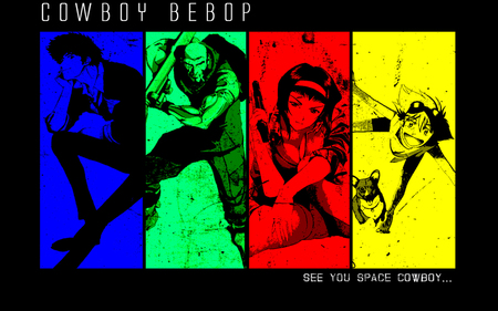 Cowboy Bebop colors - faye valentine, colours, colors, bebop, spike spiegel, crew, jet black, cowboy bebop