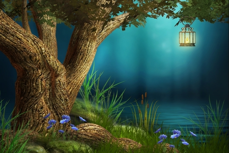 Fantasy - grass, light, peaceful, lake, tree, lantern, fog, night, lamp, flowers, blue, colors, splendor, water, nature, beauty, beautiful, lovely, fantasy, pretty, green, leaves